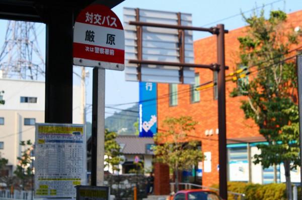 厳原の中心街のバス停